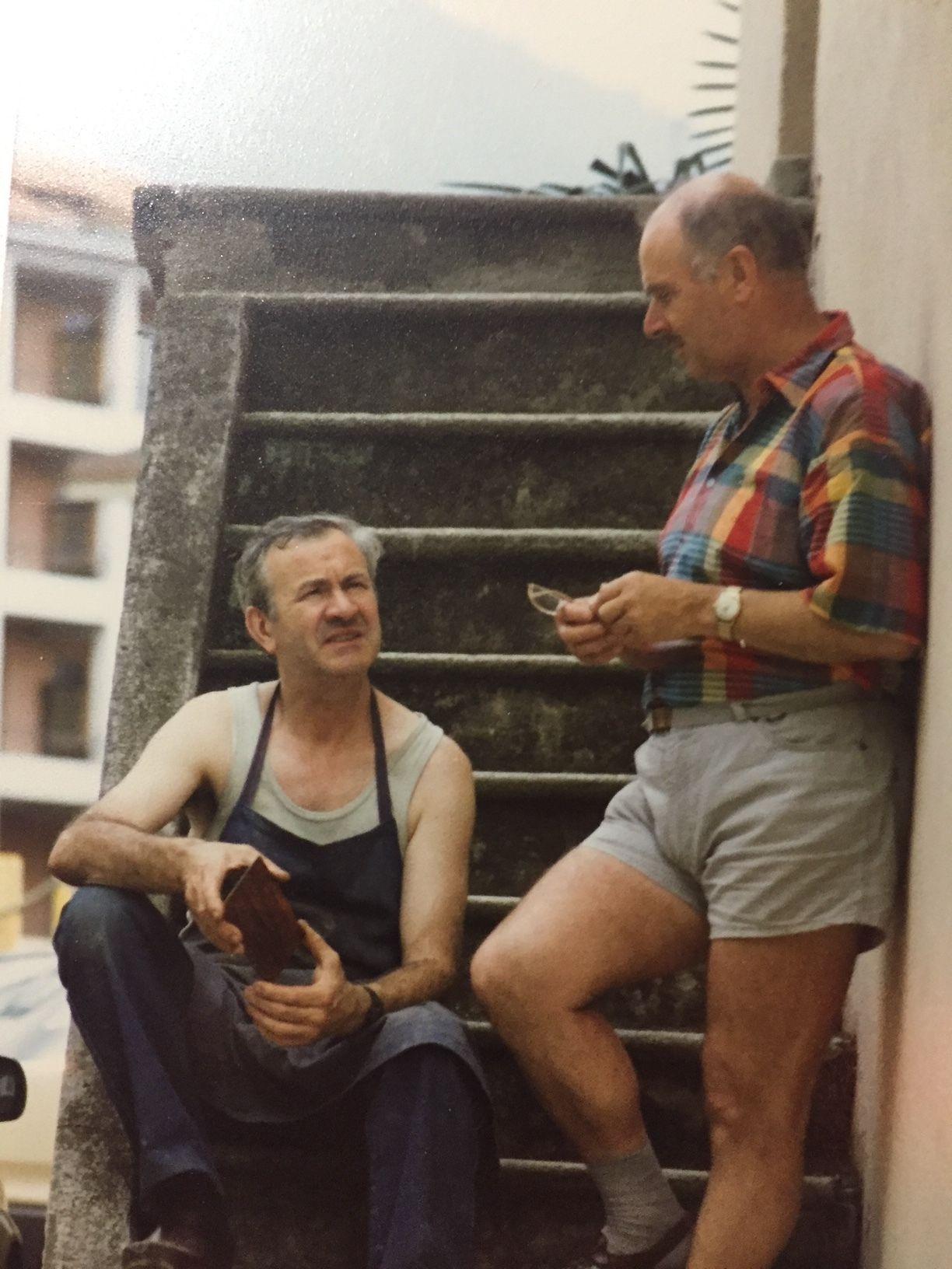 Besso, fuori dall'atelier di Luciano Gatti con Rudi Walter