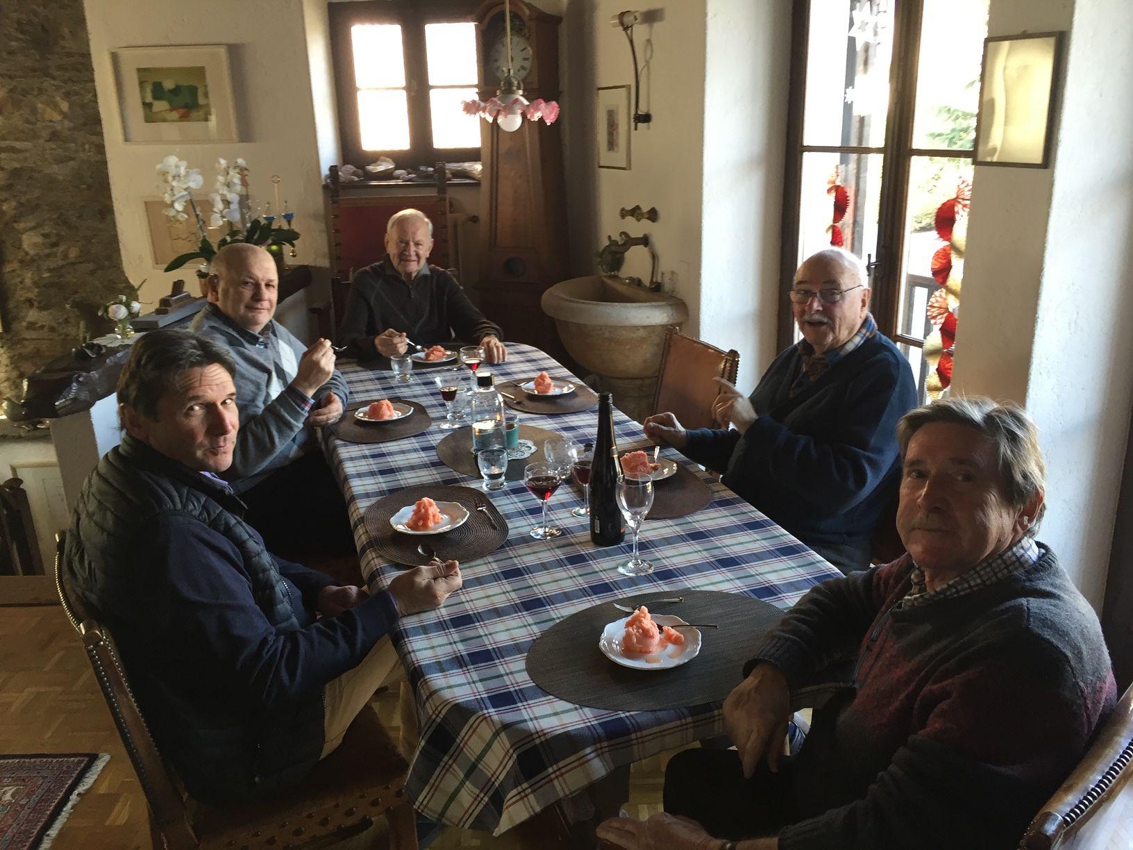 A Breganzona, in casa dell'artista Jean Marc Bühler e gli amici Luciano Gatti, Adriano Crivelli, Michele Bühler, Rudi Walter e Luciano Carazzetti