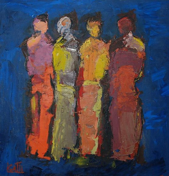 """""""Doppia coppia"""", 1990, olio su telacompensato, 48 x 50 cm"""