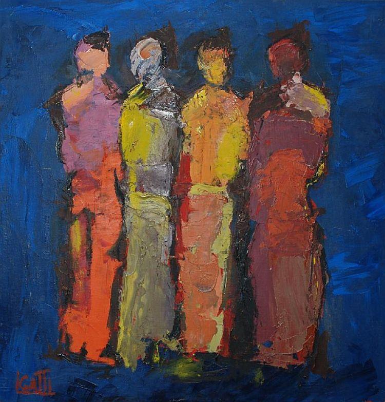 """GATTI Luciano """"Doppia coppia"""", 1990, olio su telacompensato, 48 x 50 cm"""