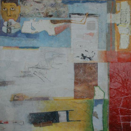 """Sentimenti mascherati"", 2002, tecnica mista su tela, 100 x 100 cm"