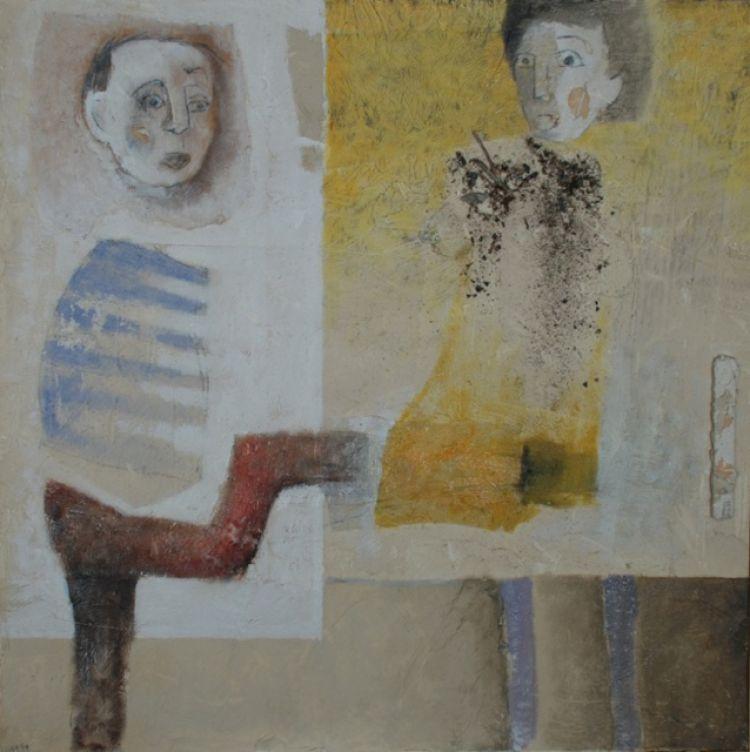 """LUPI Marco """"Troppo facile"""", 1999, tecnica mista su tela, 80 x 80 cm"""