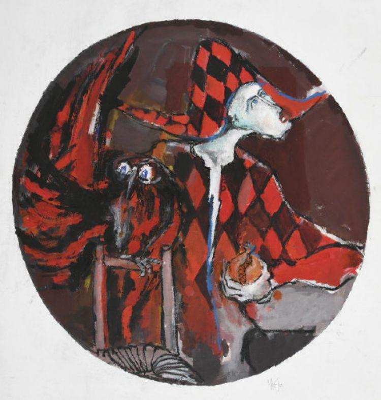 ARNOLDI Nag Arlecchino con civetta, 1992, tecnica mista, carta su tela, 120 x 121