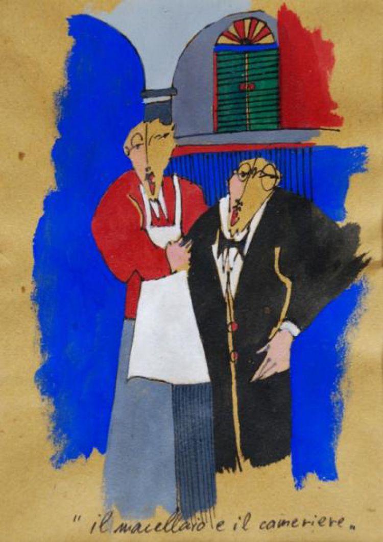 """BÜHLER Jean Marc """"Il macellaio e il cameriere"""", 2007, tempera su carta"""