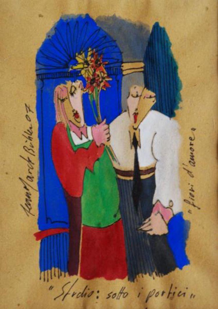 """BÜHLER Jean Marc """"Fiori d'amore"""", studio: sotto i portici, 2007, tempera su carta"""