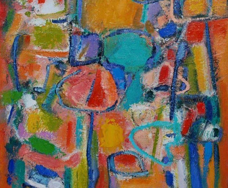 MONGUZZI Giuseppe Music and color, 1995, olio su tela, 60 x 70 cm