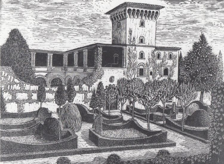 NERI Dario I giardini fiorentini, Bellosguardo, 1931, xilografia, 25 x 34 cm