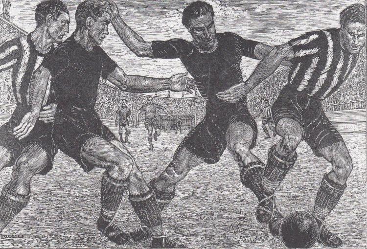 NERI Dario Calciatori, 1933, xilografia, 50 x 33 cm