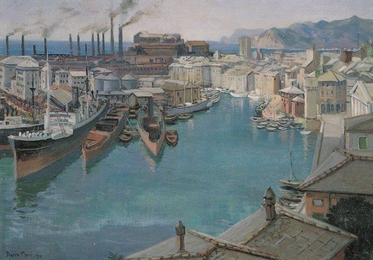 NERI Dario Il porto vecchio di Savona, 1931, olio su compensato, 65 x 46 cm