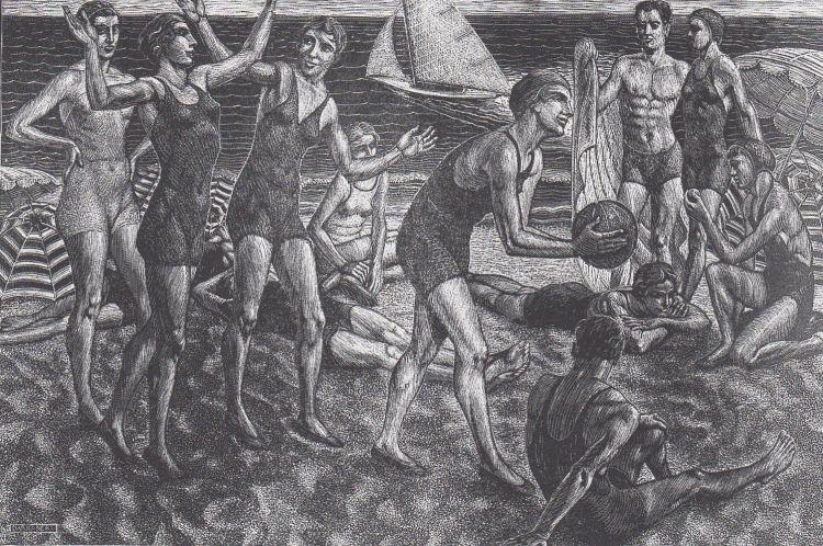 NERI Dario Sulla spiaggia, 1934, xilografia, 50 x 33 cm