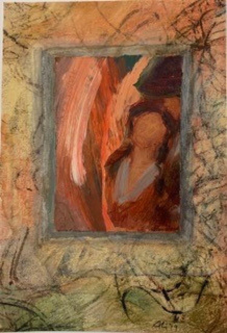 BRUNATI Alida Finestra e specchio, 2019, tecnica mista, 30 x 20 cm