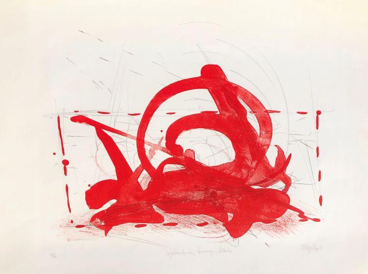 """DUPERTUIS Marcel """"A Hölderlin"""" , pane e vino, litografia, 1979, cm50 x70. Primo Premio Château de La Sarraz 1979. Stampata dall'autore, sul torchio di Prolito, Losanna. Prima in nero il disegno a matita, poi la stampa in sovrapposizione con un """"lavis"""", in rosso vermiglione"""