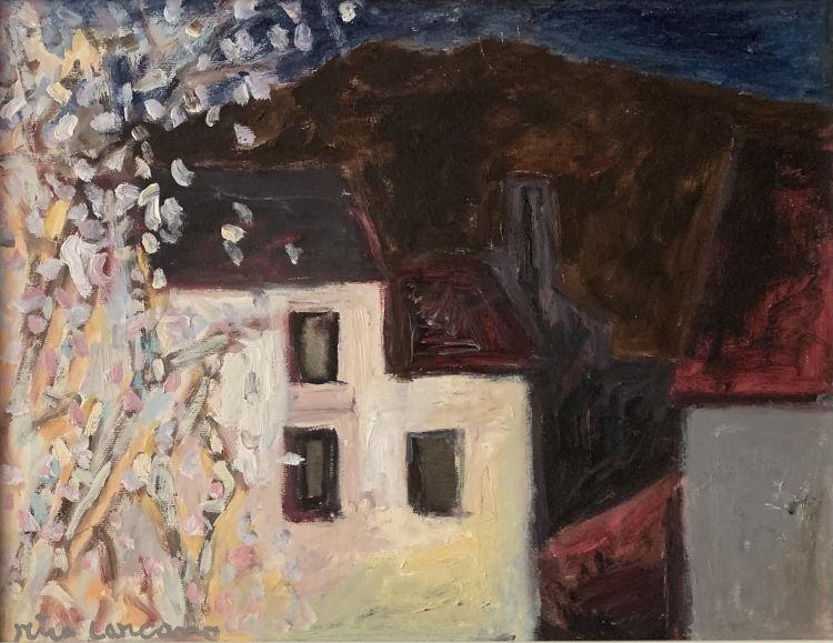 CARCANO Miro Case, olio su tela, 33 x 43 cm