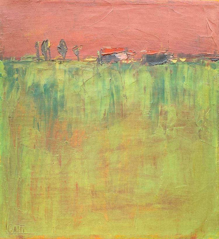GATTI Luciano Gatti Luciano, Non dimenticata padania, 1994, olio su tela, 32 x 30 cm