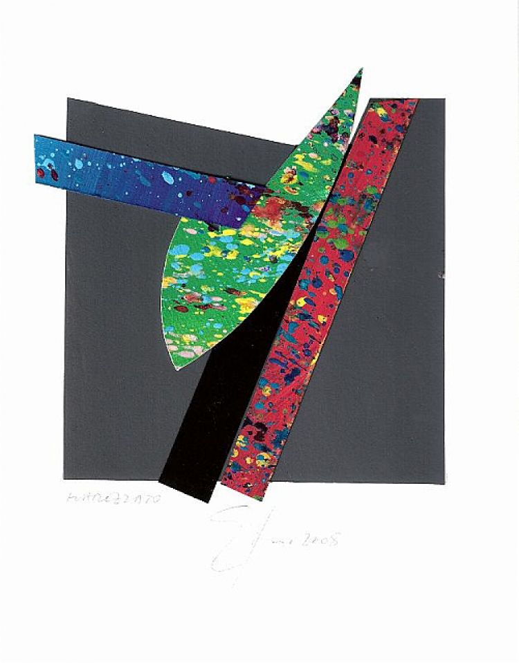 """TOGNI Giuliano """"Marezzato"""", 2008, collage, 13 x 14 cm"""