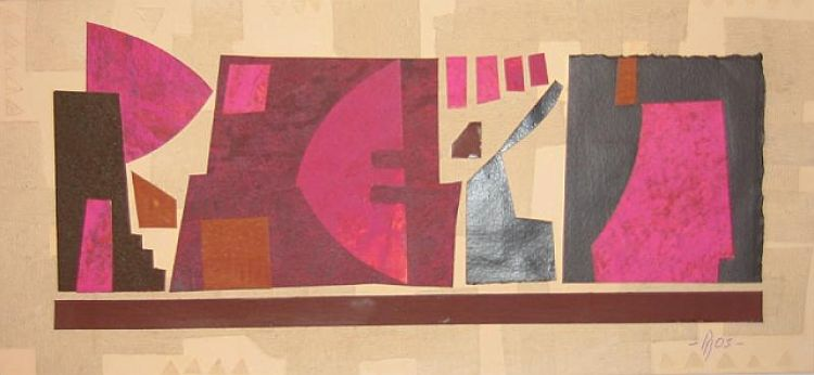 "BLENDINGER Paolo ""Composizione"", 2003, collage, 17 x 37 cm"
