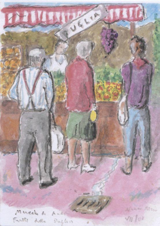 Mercato di Andora. Frutta della Puglia.
